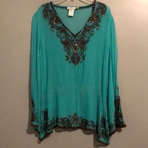 Cache Turquoise Sheer Embroidered Blouse Large